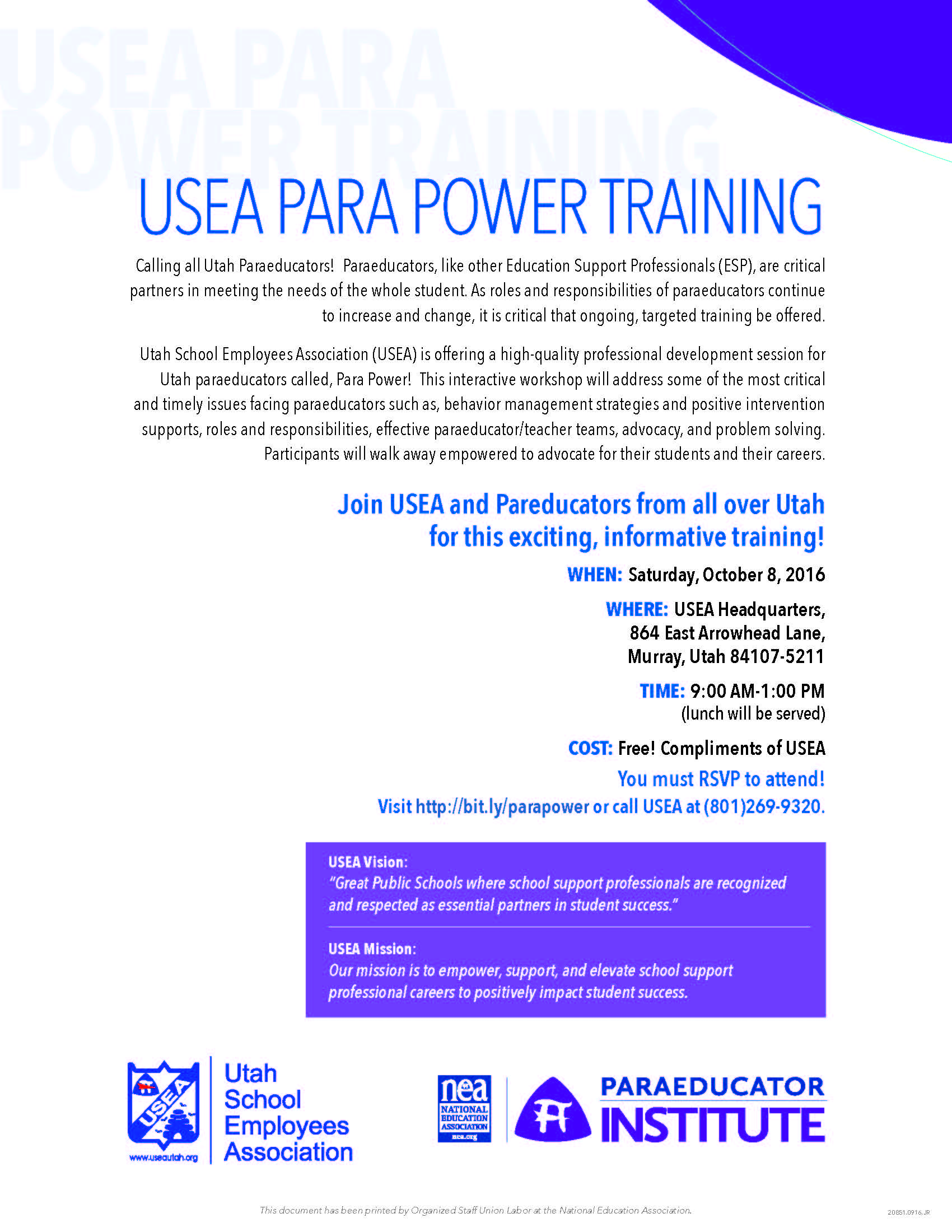 usea-parapower-training-flyer-october-2016